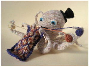 Knitting octopus pattern available at Max's World!