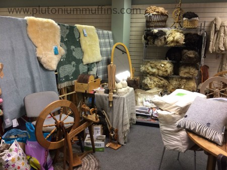 Spinning wheels and fleeces in Country Crafts.