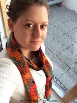 Early morning selfie showing more curling on the Tetris Scarf.