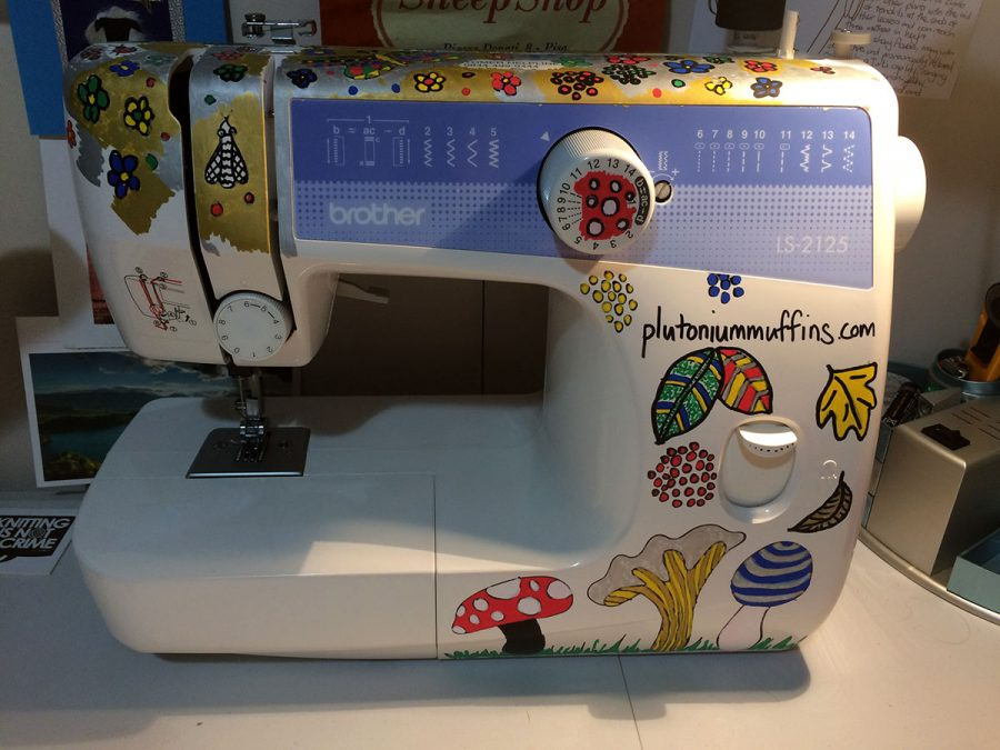 The sewing machine from the front.