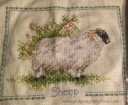 A finished sheep cross stitch!