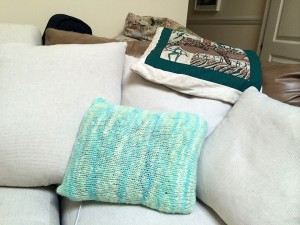 The Sherbert Cushion on our new sofa.