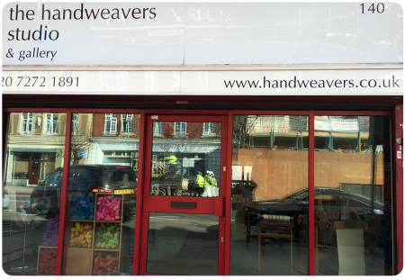 The Handweavers Studio as you approach (complete with reflection of workmen!)