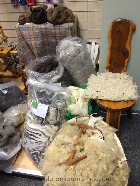 Wool products, spinning chair, roving...all the nice things!