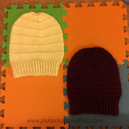 Slouchy hats on the blocking mats, not pinned out after a quick wash in Soak.