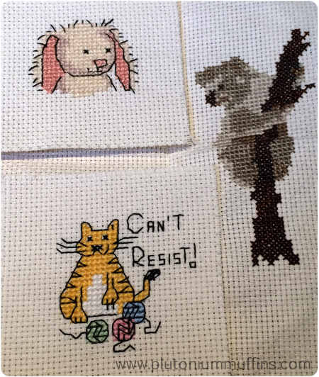 The three mini cross stitch FO's I managed while Down Under.