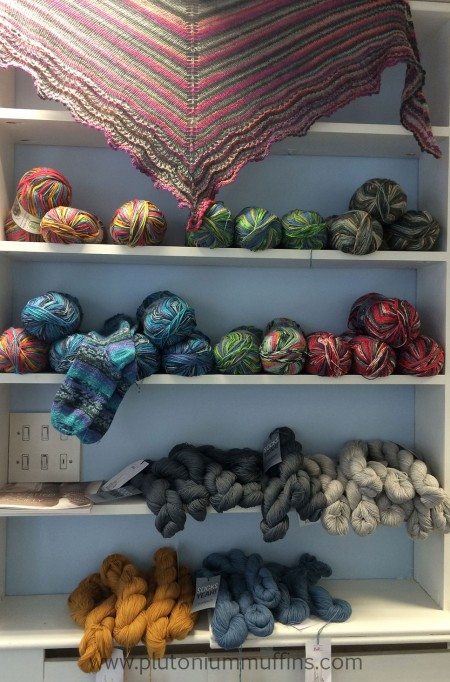 Sock yarns as you walk into the Bluestocking Wool Shop.