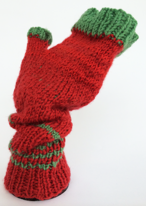 Palm-up Space Invader Mitts.