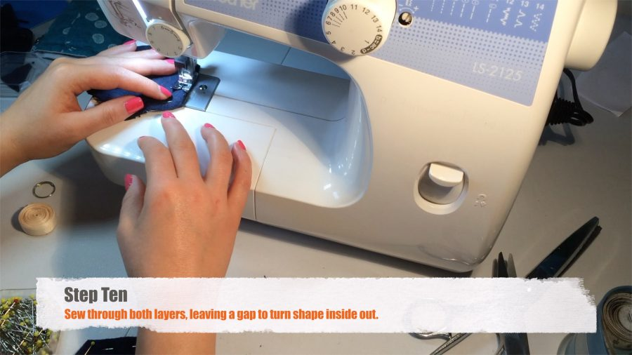 Step Ten: Sew through both layers, leaving a gap to turn shape inside out.