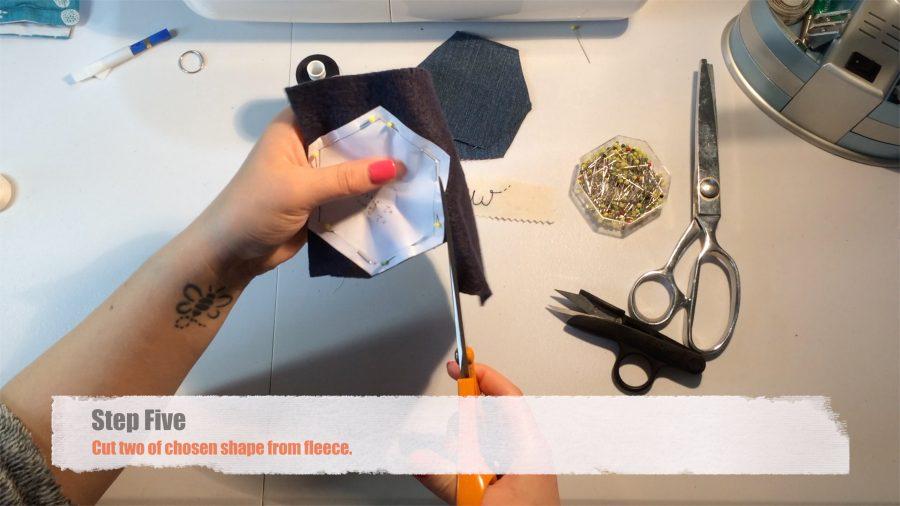 Step Five: Cut two of chosen shape from fleece.