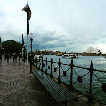 Sydney Harbour Bridge to the left - the opera house to the right.