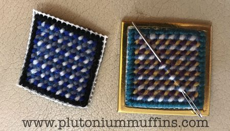 The difference between my tapestry brooches...left done in the workshop, right done afterwards!