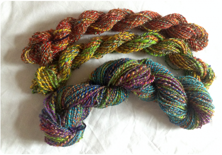 The rainbow yarn side by side.