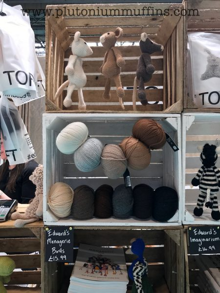 The Toft stand with beautiful yarn and samples.