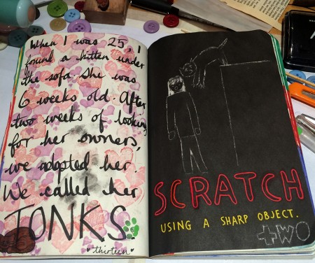 """Completed page from the Wreck This Journal - """"Scratch using a sharp object"""""""