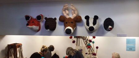 Louise's amazing taxidermy heads at Unravel!