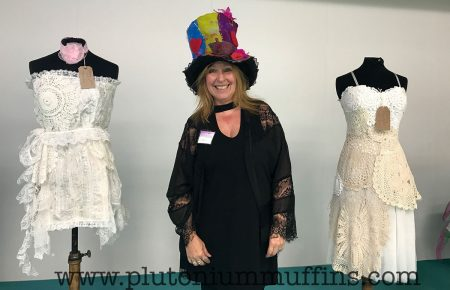 Val Hughes with her incredible dresses and stunning felted hat.