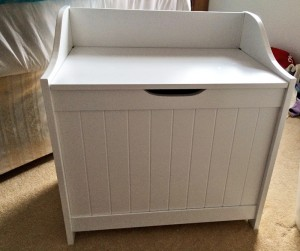 My new WIP basket...officially called a Monk's Bench laundry box!