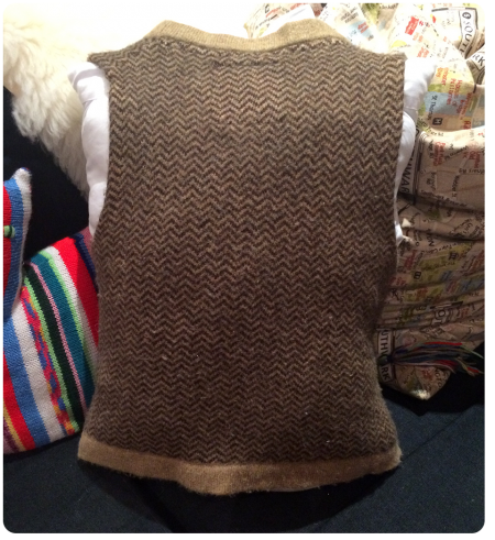 Our new waistcoat pillow from the back!