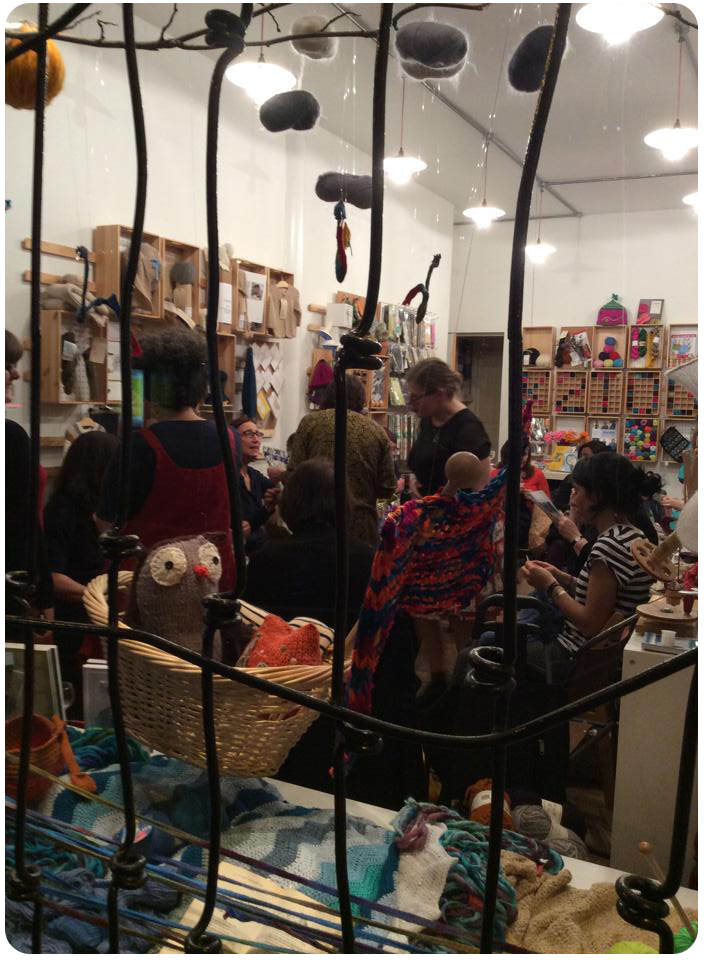 The whole group through decorative bars on the Wild and Woolly window (photo copyright Summer Mughrabi)