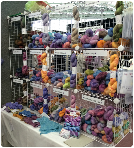 Cages full of hand-painted yarns.