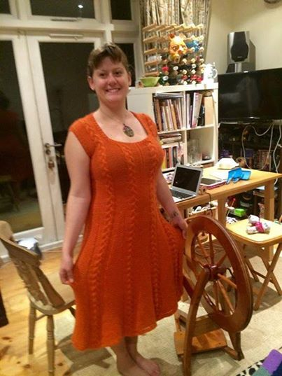 Wearing the dress in our lovely (tidy!) flat...