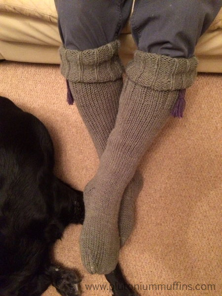 A slightly different view of the ridiculous welly socks.