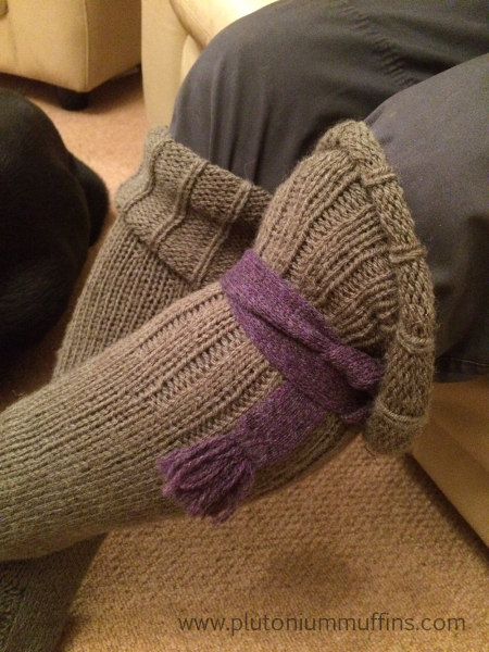 Dad's ridiculous welly socks with a knitted garter to keep them up when not in boots.