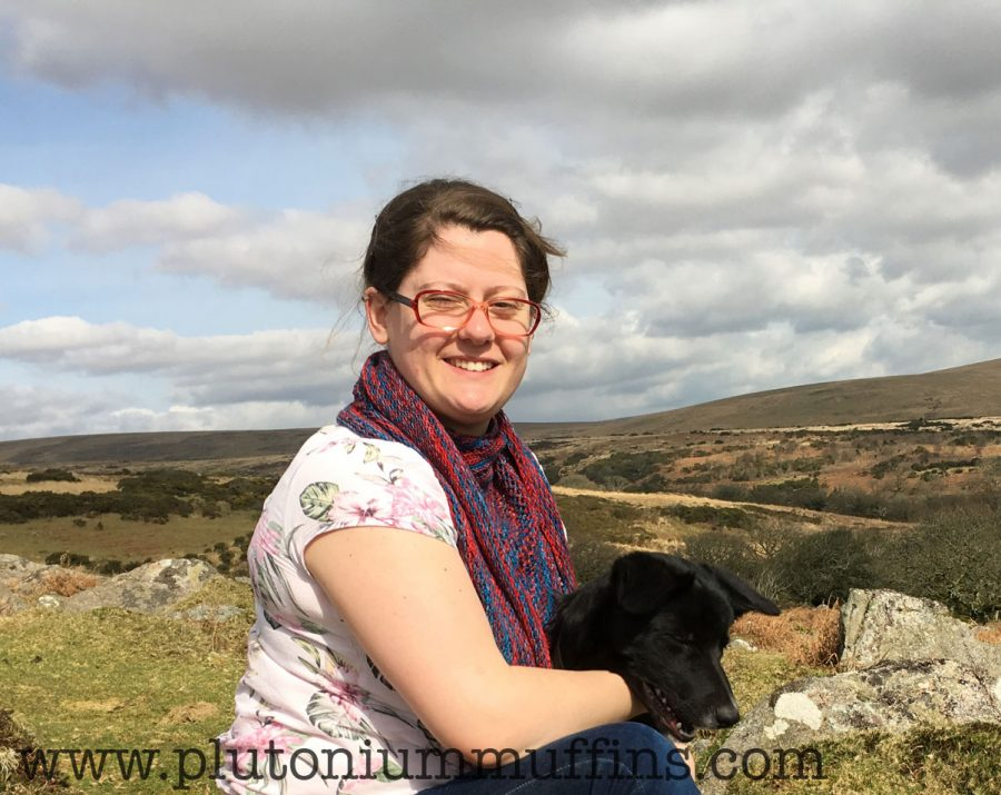 My favourite photo of the Election Shawl, wearing it on Dartmoor with Chase.