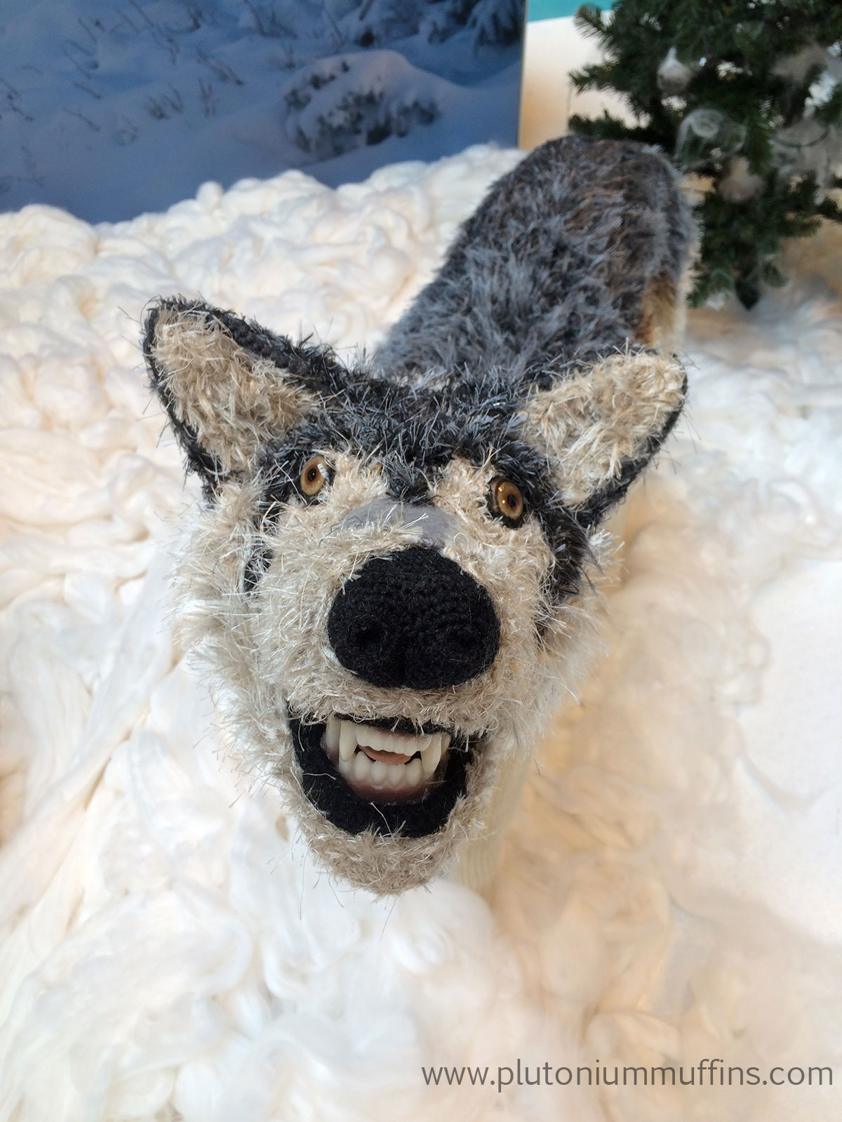 Close up of one of the wolves in Yarnia at CHSI Stitches - could this be Maugrim?