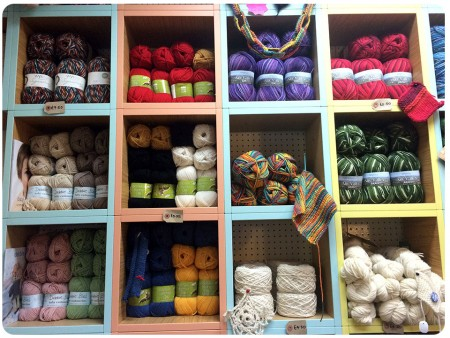 More lovely coloured yarns, as well as a paper chain of knitting :)