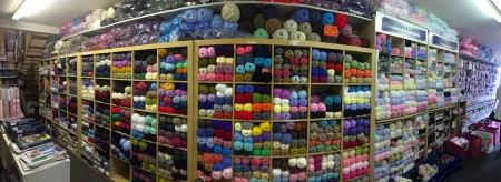 Panorama of one of the walls of yarn.