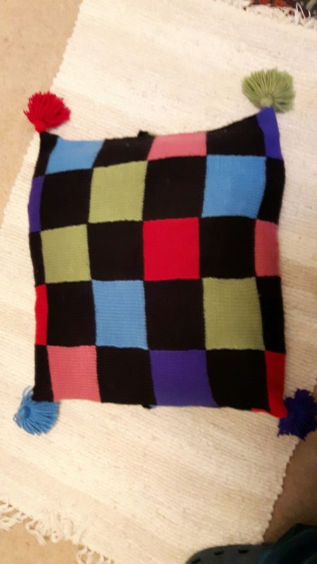 One of the first things I ever knitted! A patchwork pillow that has received a lot of appreciation over the years.